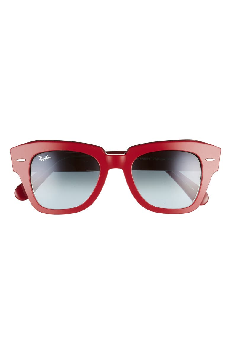 RAY-BAN State Street 49mm Gradient Square Sunglasses, Main, color, TRANSP RED/ BLUE GRAD GREY