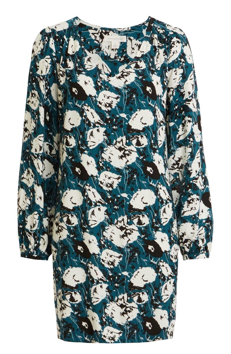 TREASURE & BOND V-Neck Long Sleeve Shift Minidress, Main, color, TEAL- IVORY FLORAL