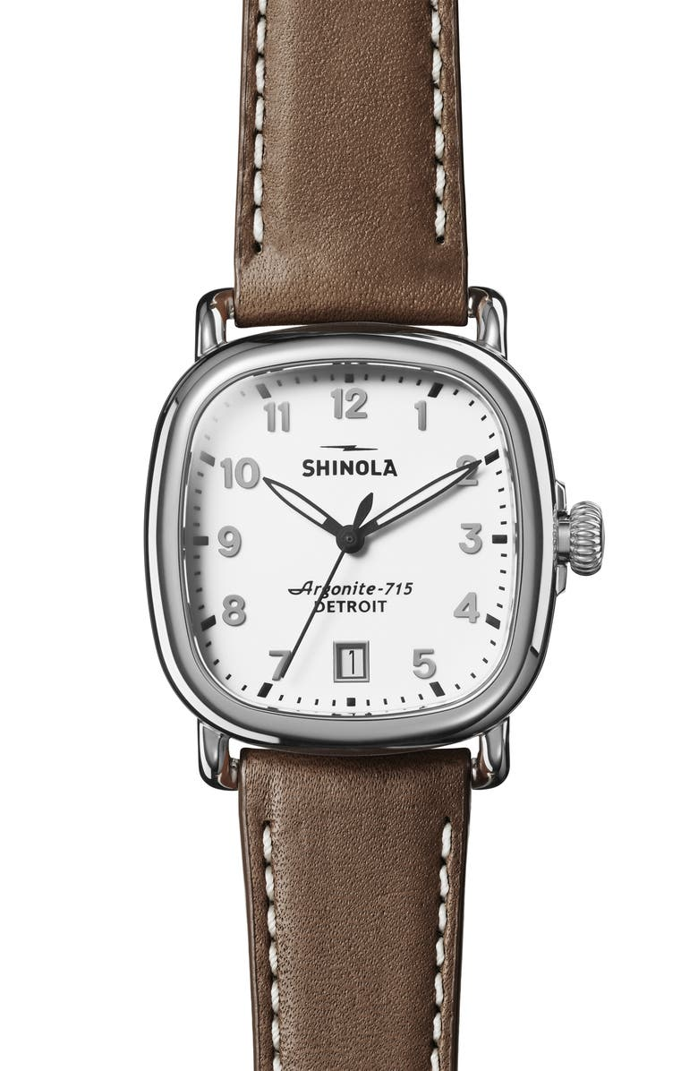SHINOLA The Guardian Leather Strap Watch, 36mm, Main, color, DARK BROWN/ WHITE/ SILVER
