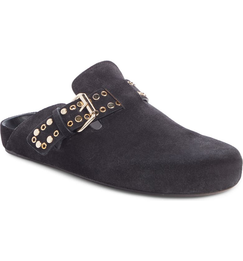 ISABEL MARANT Mirvin Buckle Strap Mule Clog, Main, color, FADED BLACK SUEDE