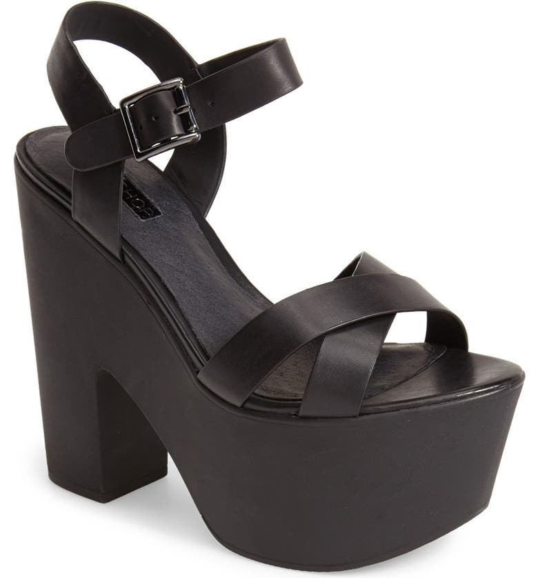 TOPSHOP 'Launch' Ankle Strap Platform Sandal, Main, color, 001