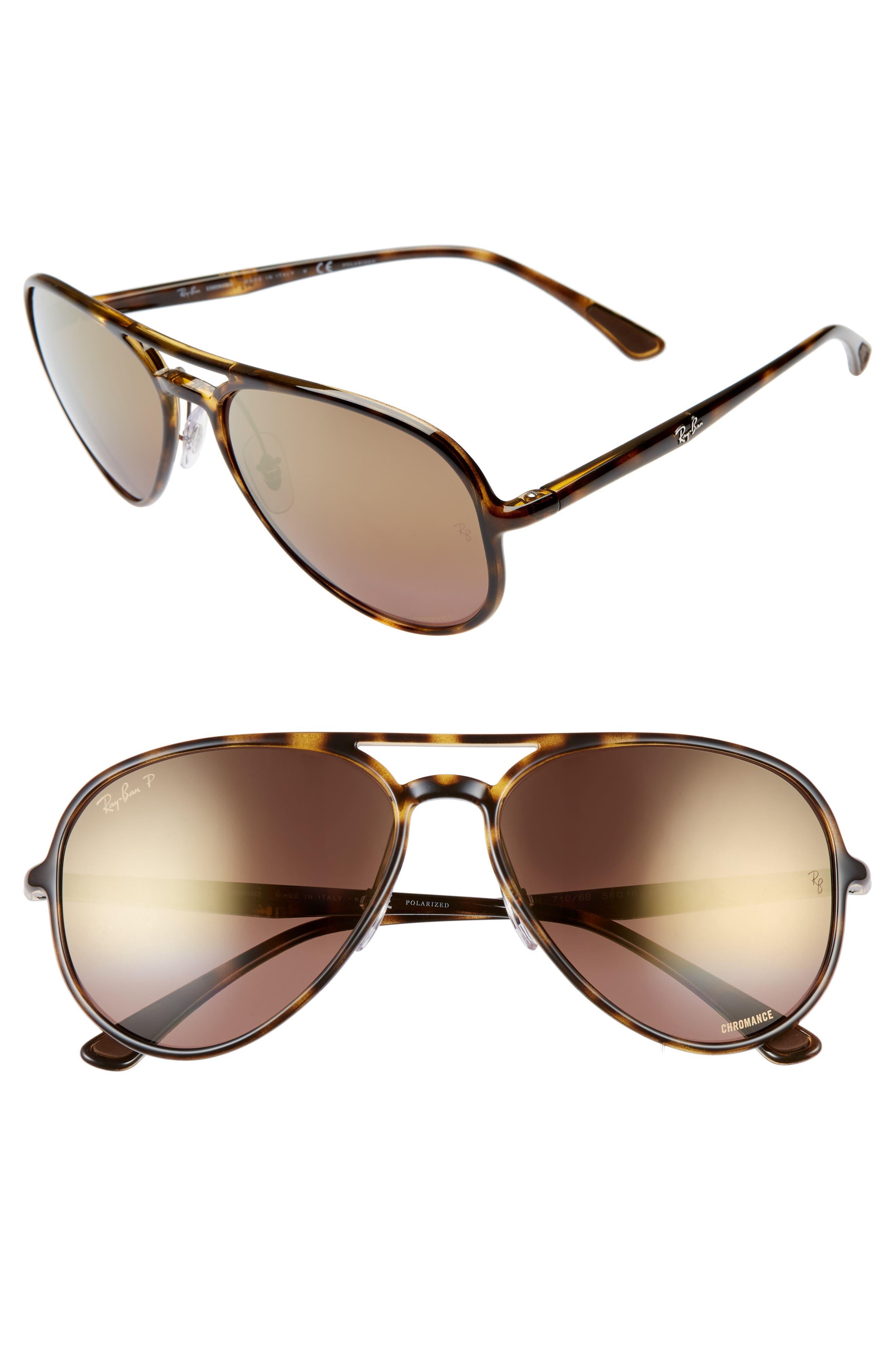 Ray-Ban 5m Chromance Polarized Aviator Sunglasses - Havana/ Gold Gradient Mirror