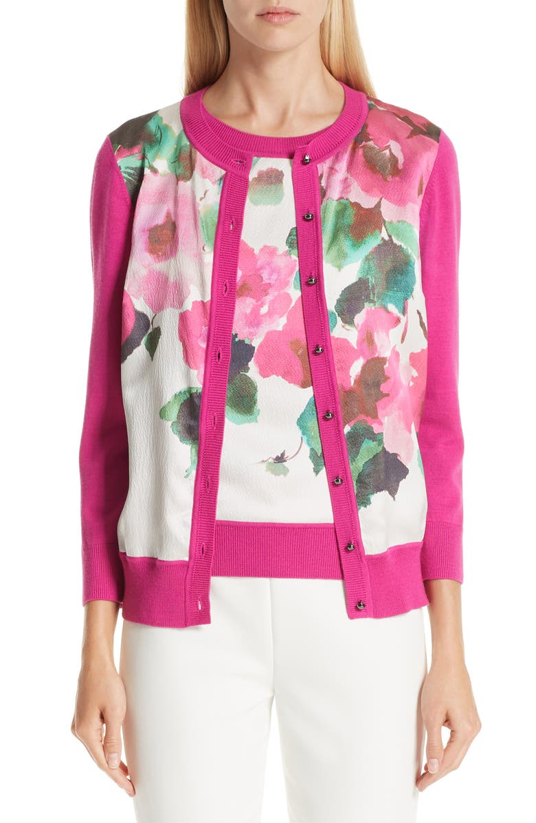 ST. JOHN COLLECTION Jersey & Silk Cardigan, Main, color, 670