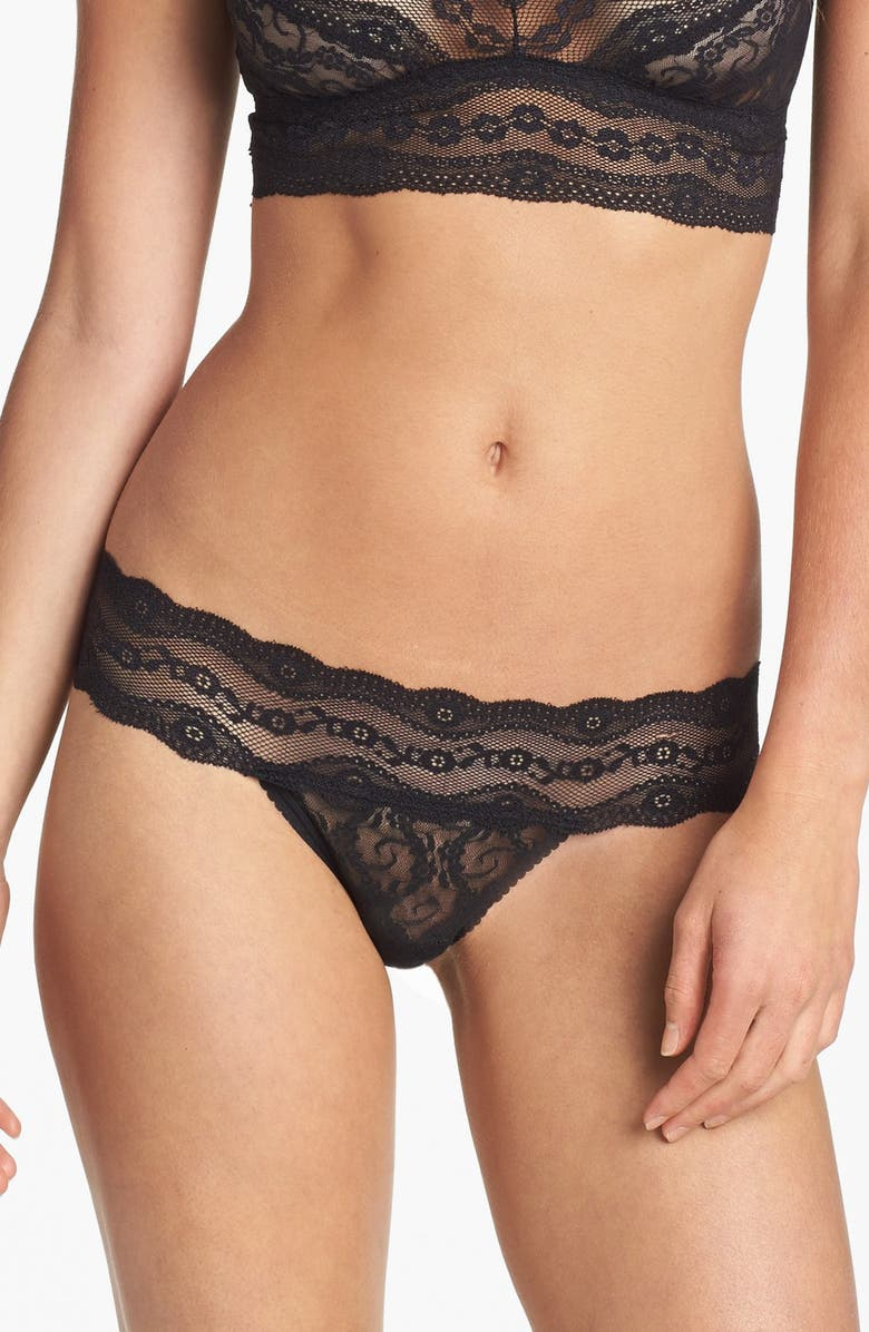 B.TEMPT'D BY WACOAL 'Lace Kiss' Thong, Main, color, NIGHT