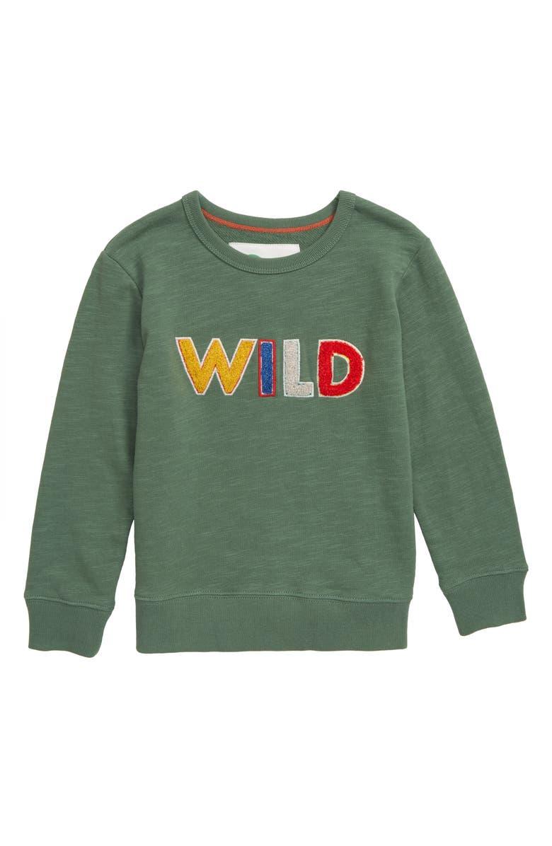 MINI BODEN Wild Adventure Sweatshirt, Main, color, ROSEMARY GREEN