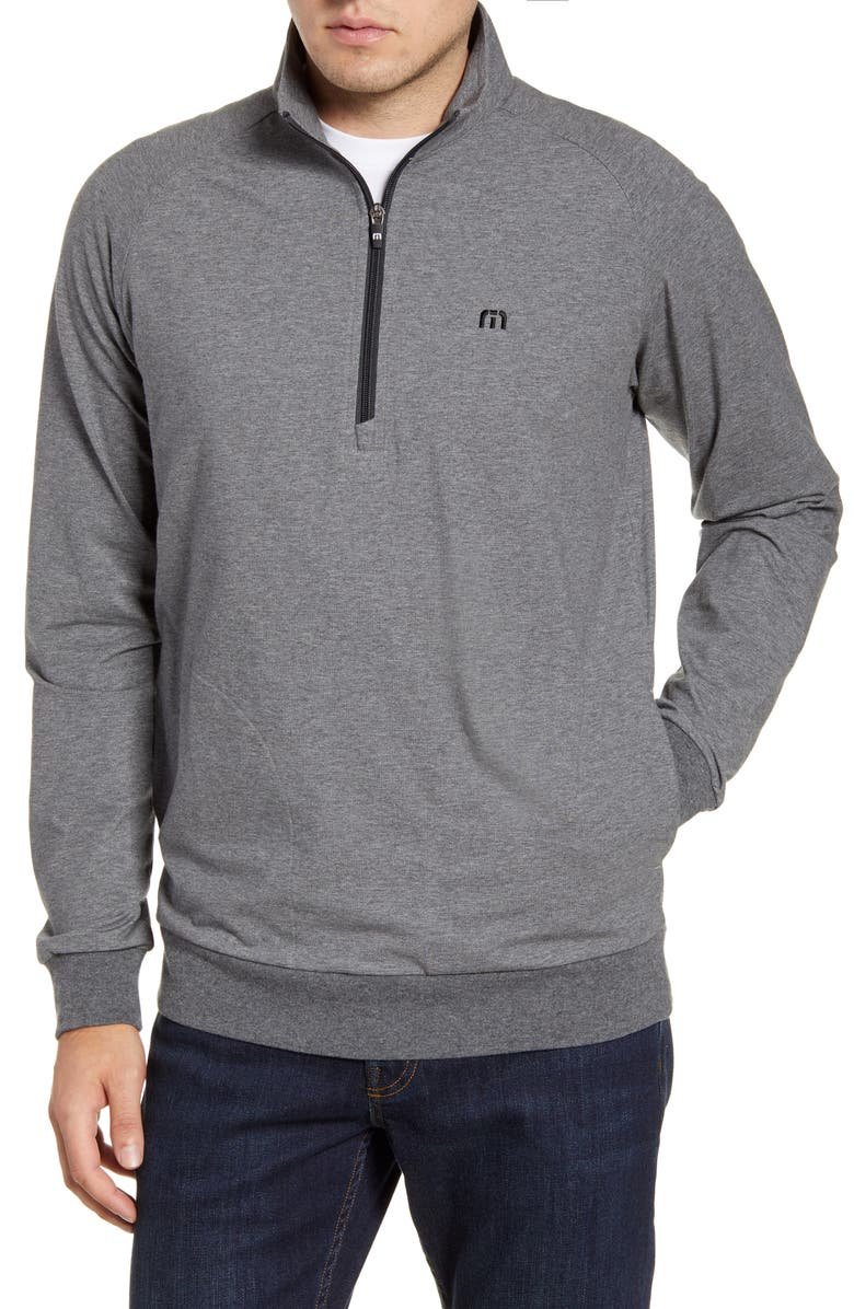 TRAVISMATHEW Zachary Half Zip Pullover, Main, color, HEATHER QUIET SHADE