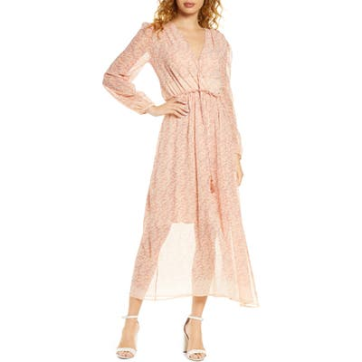 Fraiche By J Fara Long Sleeve Sheer Maxi Dress, Orange