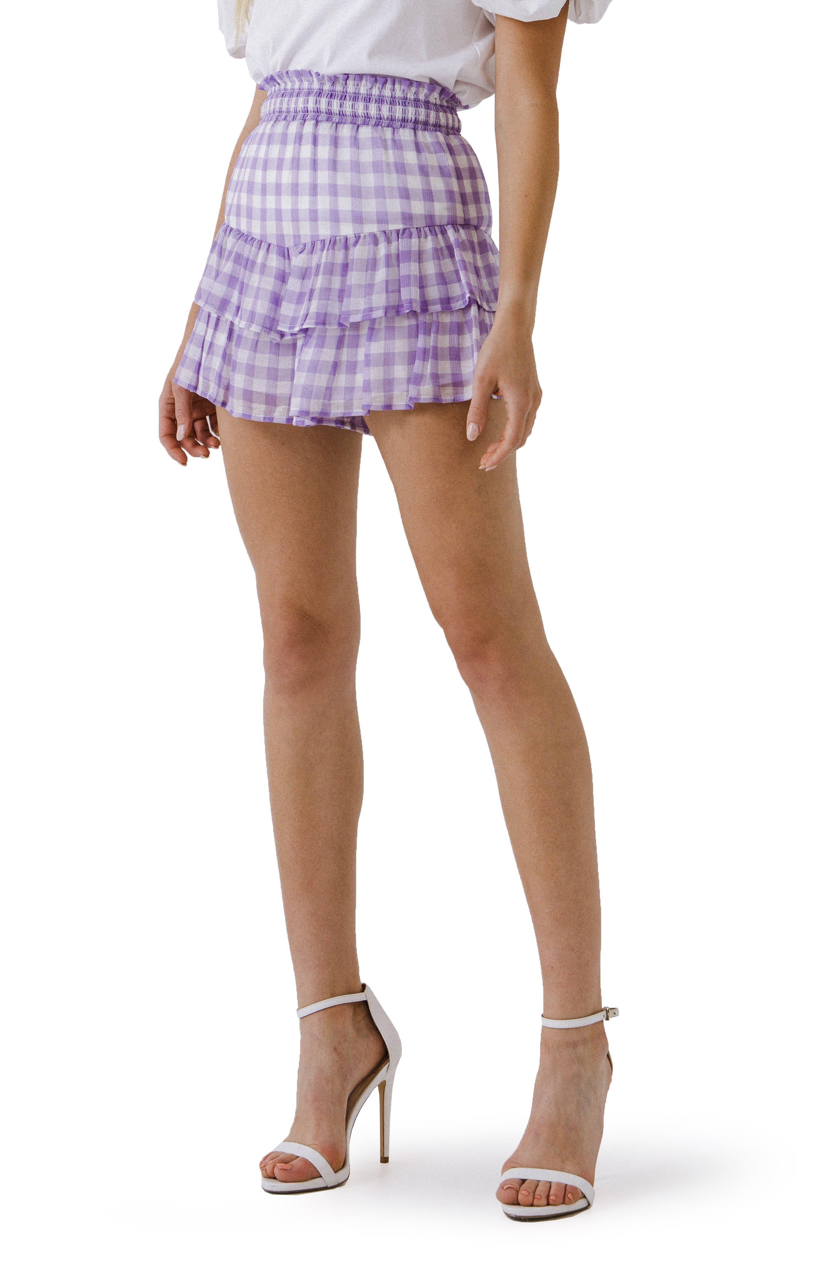 Gingham Ruffle Shorts