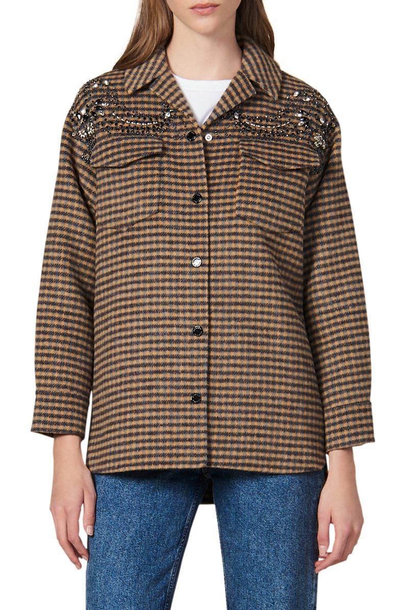 SANDRO Brodan Plaid Beaded Detail Wool Blend Jacket, Main, color, MULTICOLOR