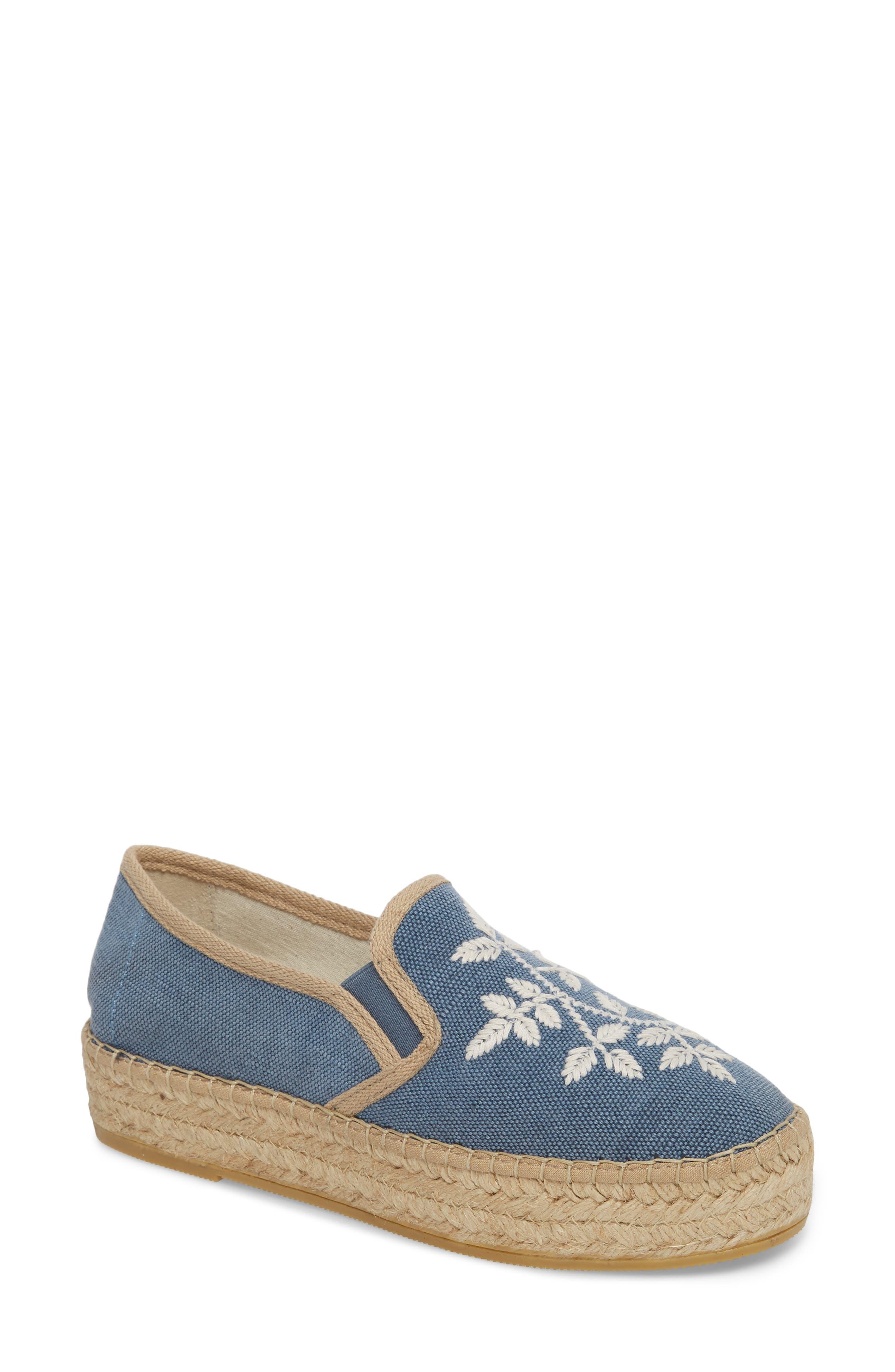 Toni Pons Florence Embroidered Platform Espadrille Sneaker, Blue