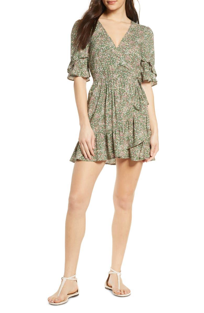 AUGUSTE Gemima Goldie Wrap Minidress, Main, color, KHAKI