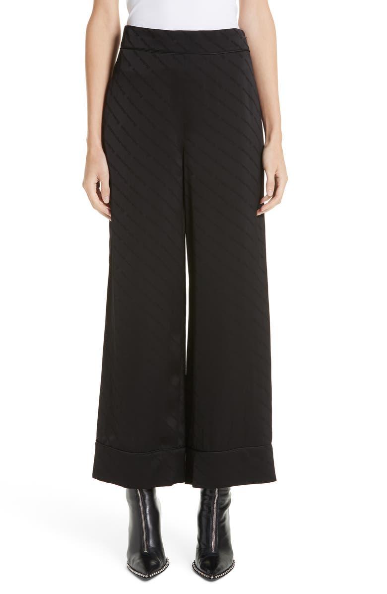ALEXANDER WANG Logo Jacquard Wide Leg Pajama Pants, Main, color, 001