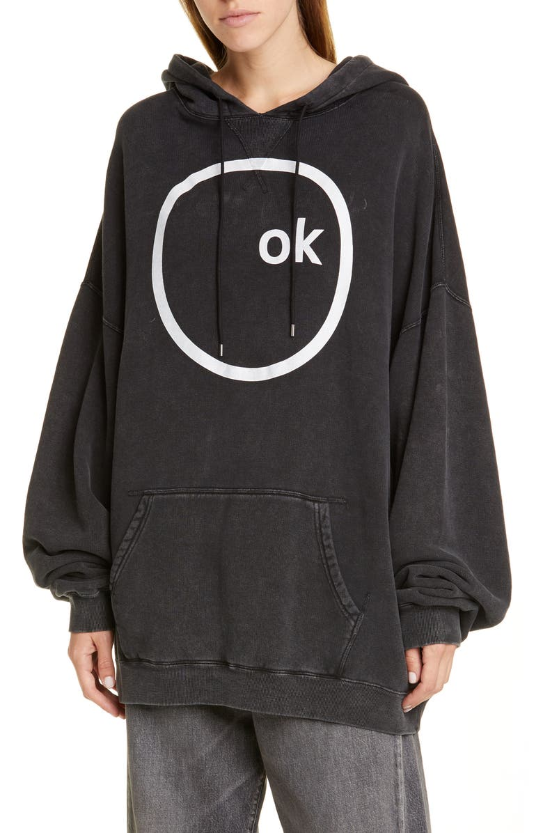 R13 OK Computer Oversized Hoodie, Main, color, ACID BLACK