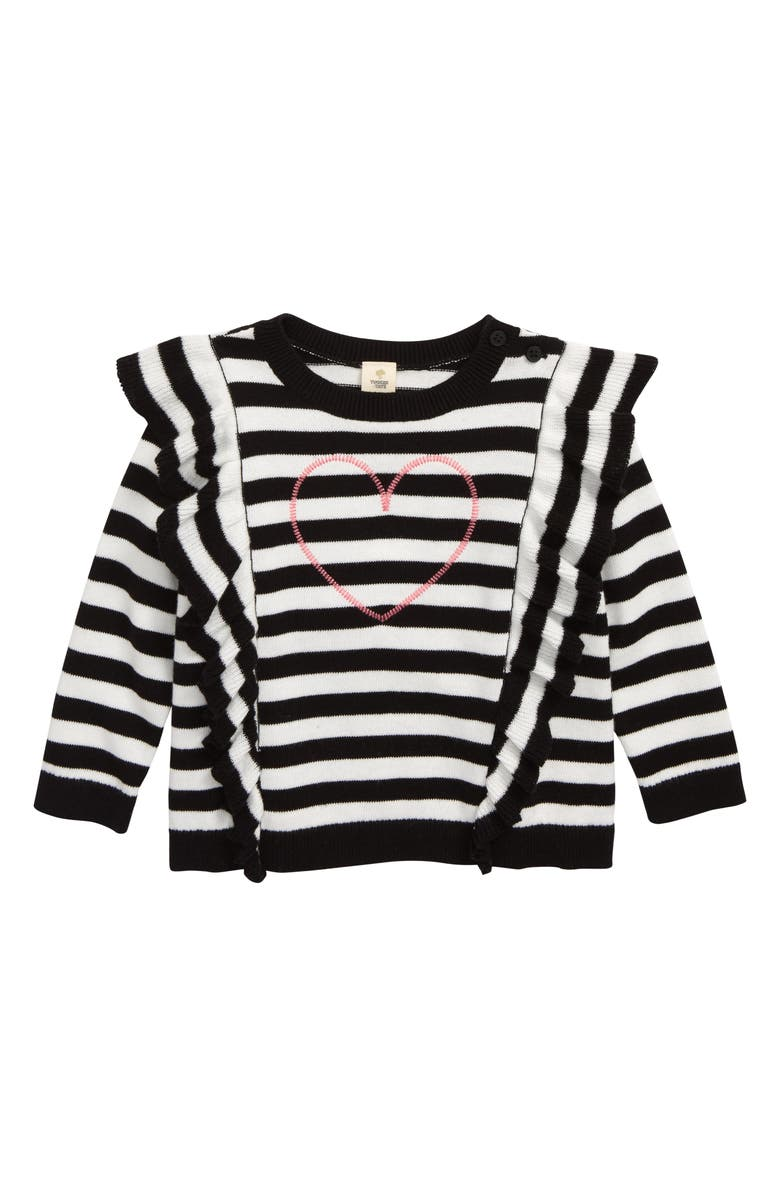 TUCKER + TATE Embroidered Ruffle Sweater, Main, color, BLACK- IVORY STRIPE