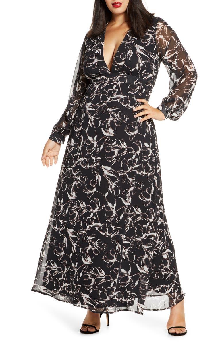 Deep-V Long Sleeve Maxi Dress