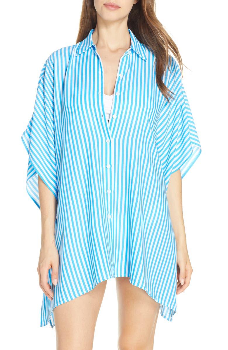 TOMMY BAHAMA Palm Party Boyfriend Tunic Shirt, Main, color, AZURE BLUE