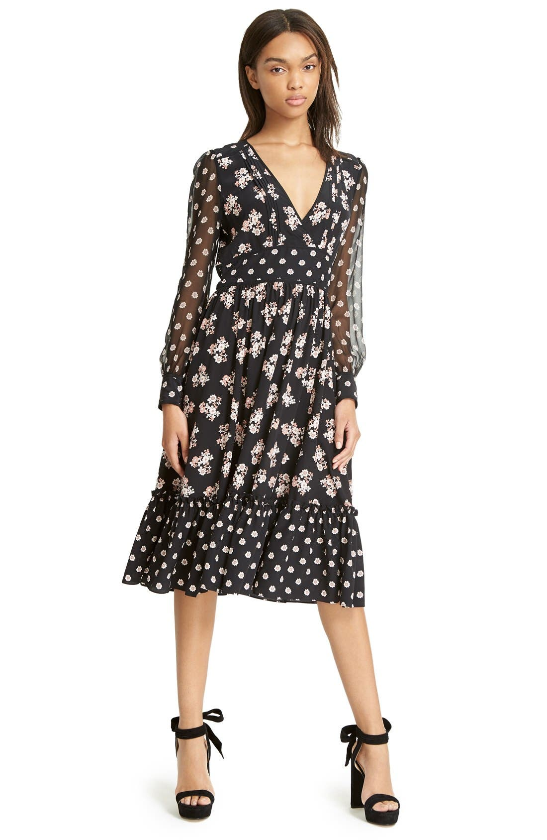 ,                             ditsy print silk midi dress,                             Alternate thumbnail 2, color,                             001