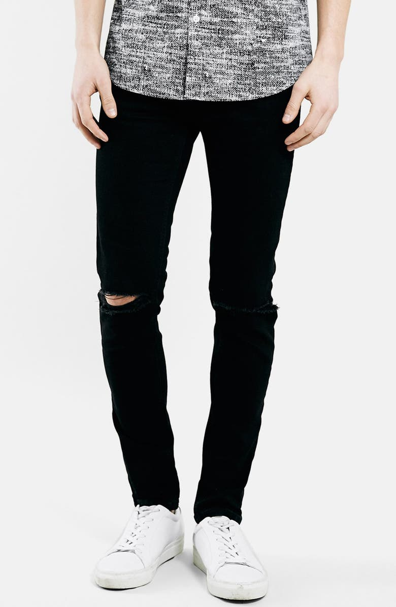 TOPMAN Ripped Stretch Skinny Fit Jeans, Main, color, 001