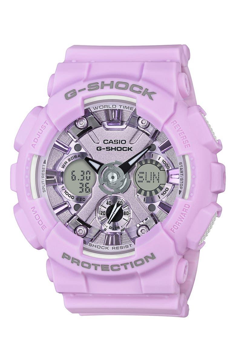 G-SHOCK BABY-G G-Shock S-Series Ana-Digi Resin Watch, 46mm, Main, color, LIGHT PURPLE