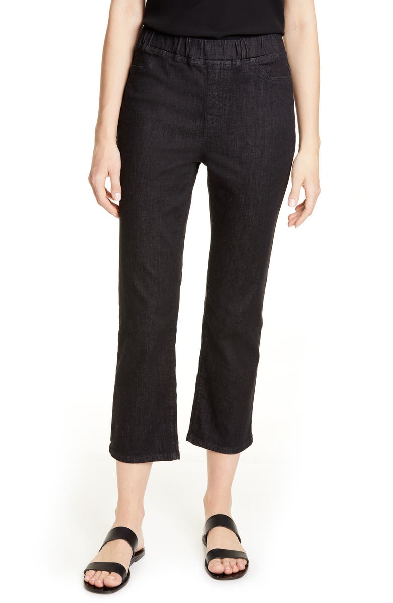 EILEEN FISHER Slim Leg Crop Jeans, Main, color, VINTAGE BLACK