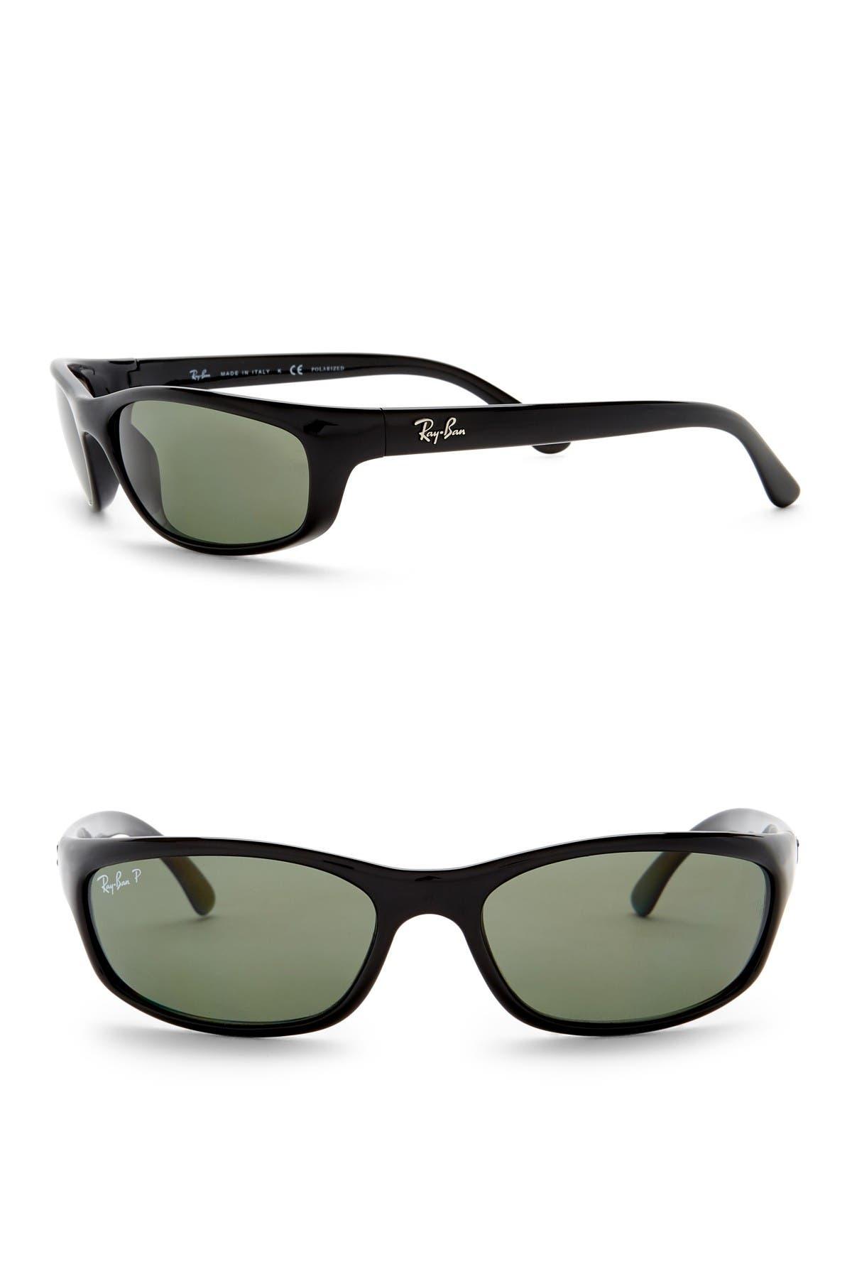 Image of Ray-Ban Polarized 57mm Wrap Acetate Sunglasses