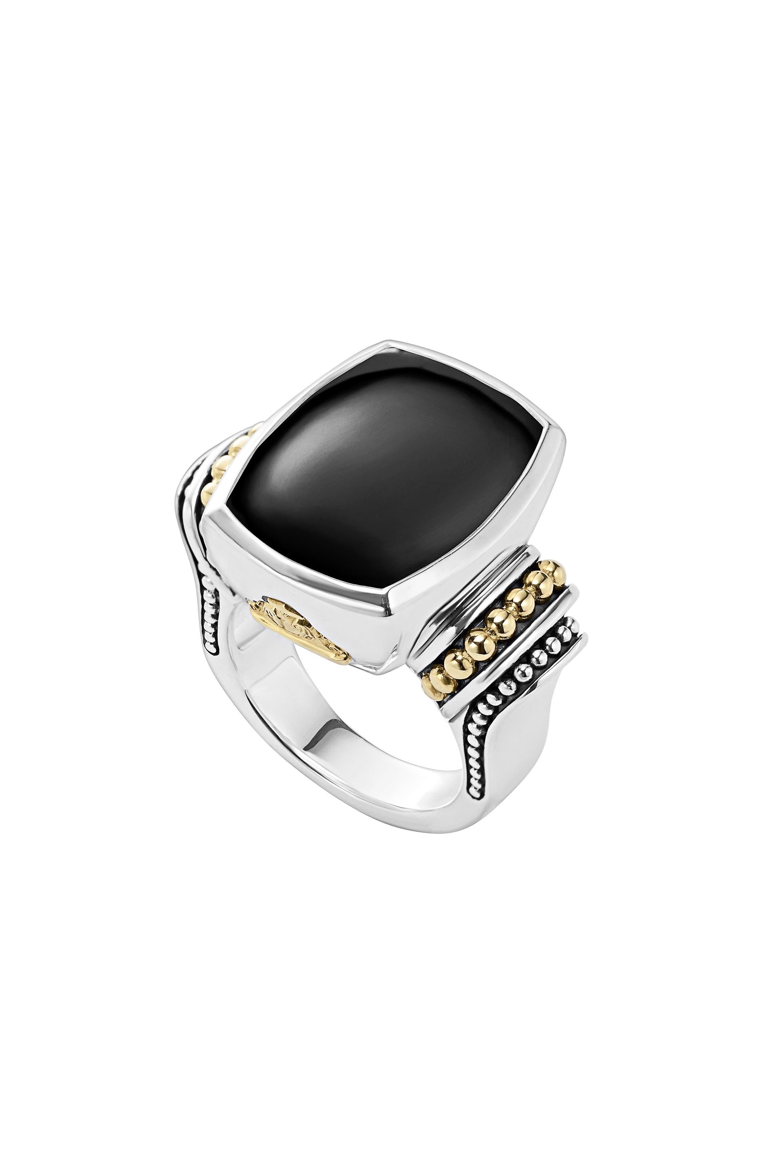 ,                             'Caviar Color' Large Semiprecious Stone Ring,                             Main thumbnail 1, color,                             BLACK ONYX