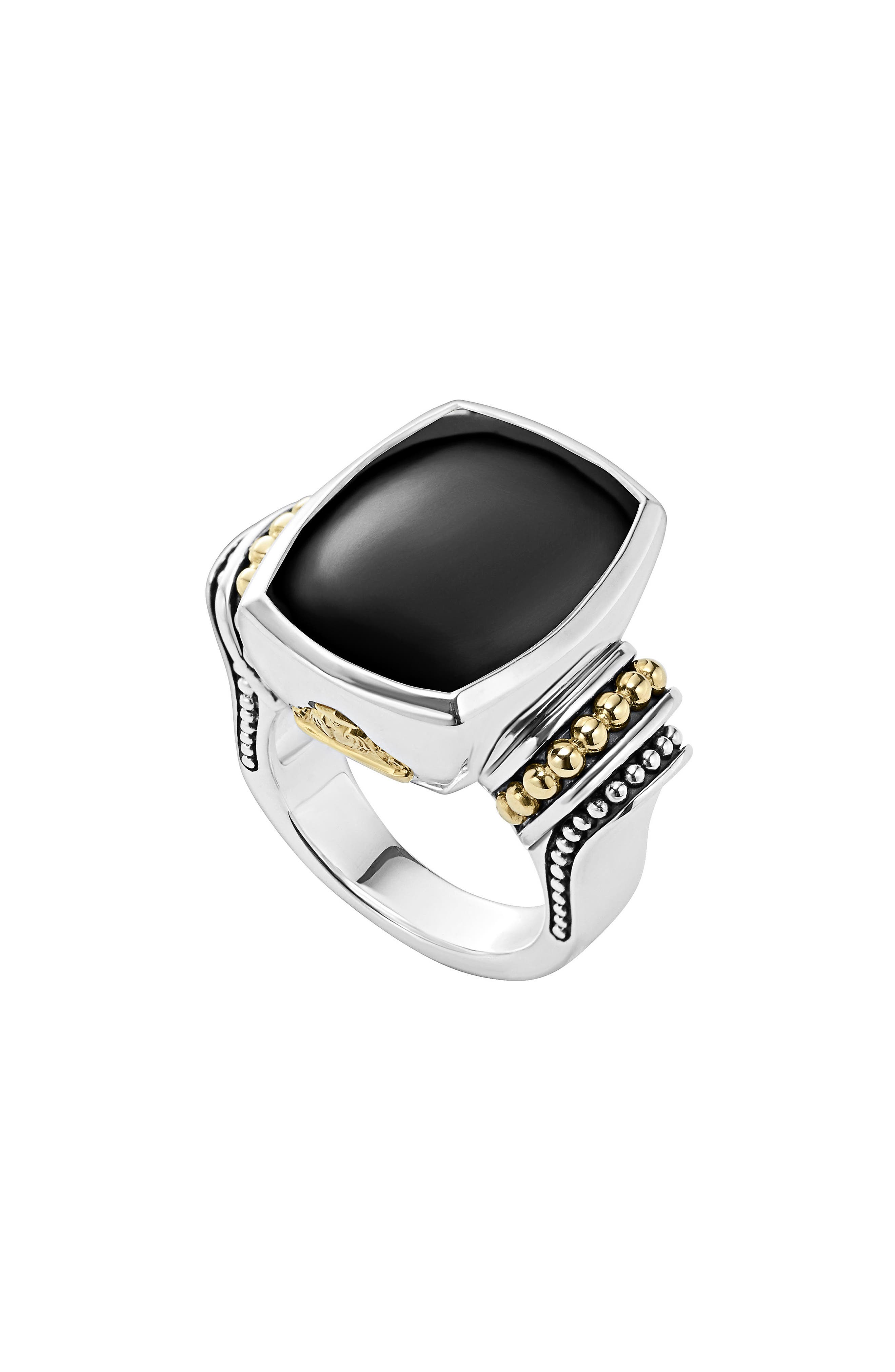 'Caviar Color' Large Semiprecious Stone Ring, Main, color, BLACK ONYX
