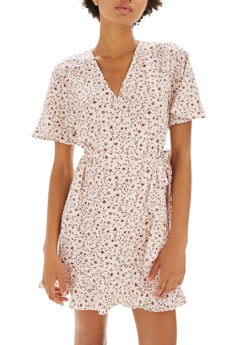 TOPSHOP Daisy Ruffle Wrap Tea Dress, Main, color, 250
