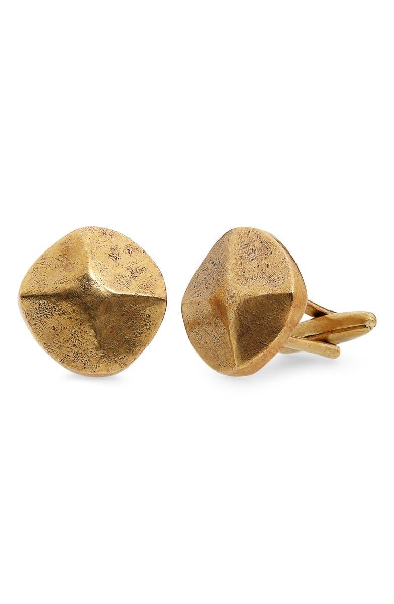JOHN VARVATOS Brass Rivet Cuff Links, Main, color, METALLIC GOLD