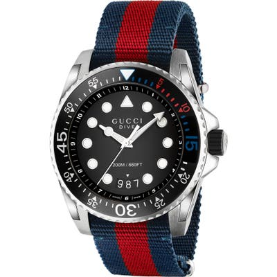 Gucci Dive Nylon Strap Watch, 45Mm