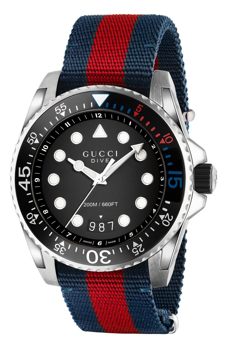 GUCCI Dive Nylon Strap Watch, 45mm, Main, color, BLUE/ RED/ BLACK/ SILVER
