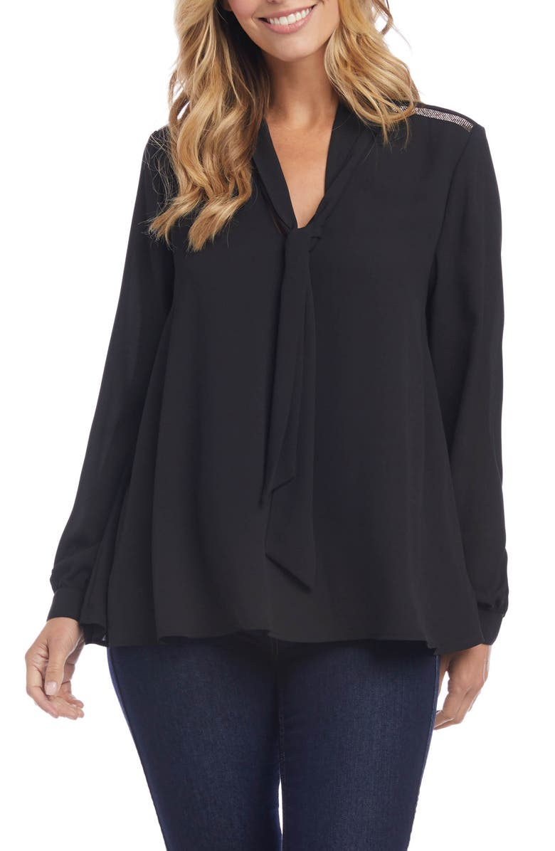 KAREN KANE Tie Neck Sparkle Blouse, Main, color, BLACK