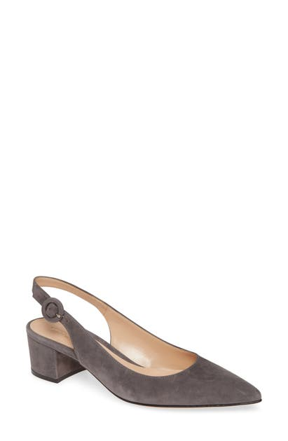 Gianvito Rossi Buckle Slingback Pump In Lapis Suede