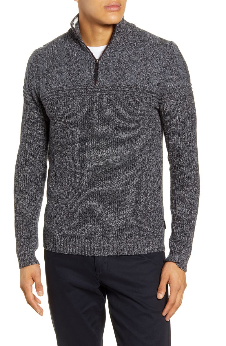 TED BAKER LONDON Ladders Cable Knit Quarter Zip Pullover, Main, color, CHARCOAL