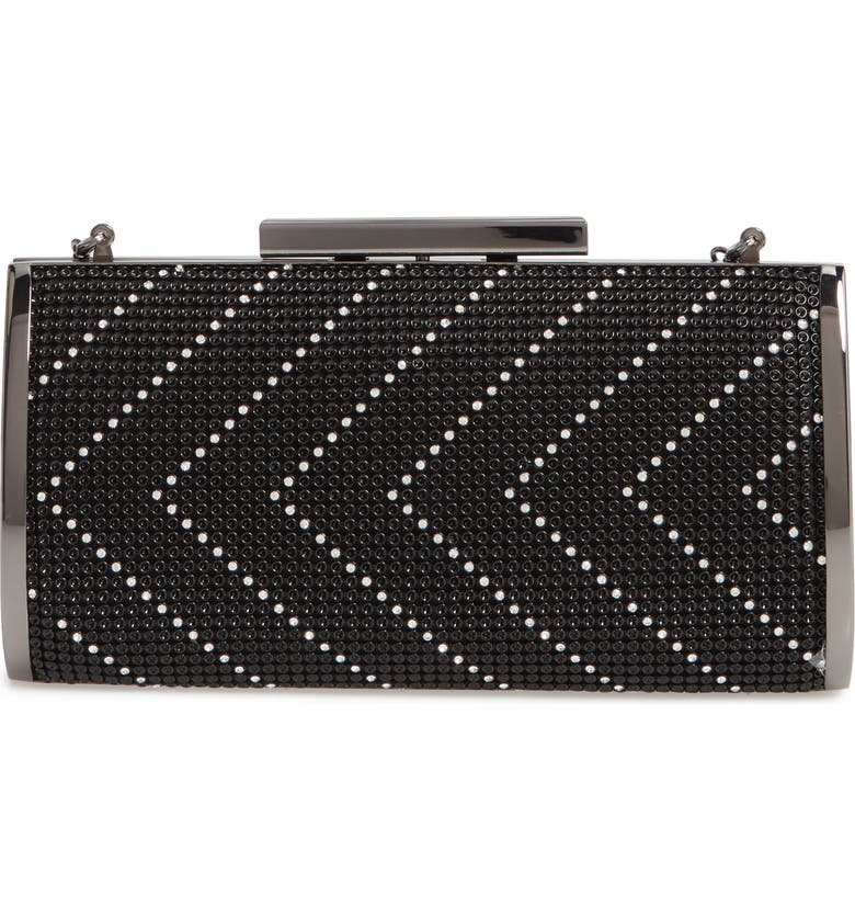 WHITING & DAVIS Chevron Crystal Embellished Clutch, Main, color, BLACK