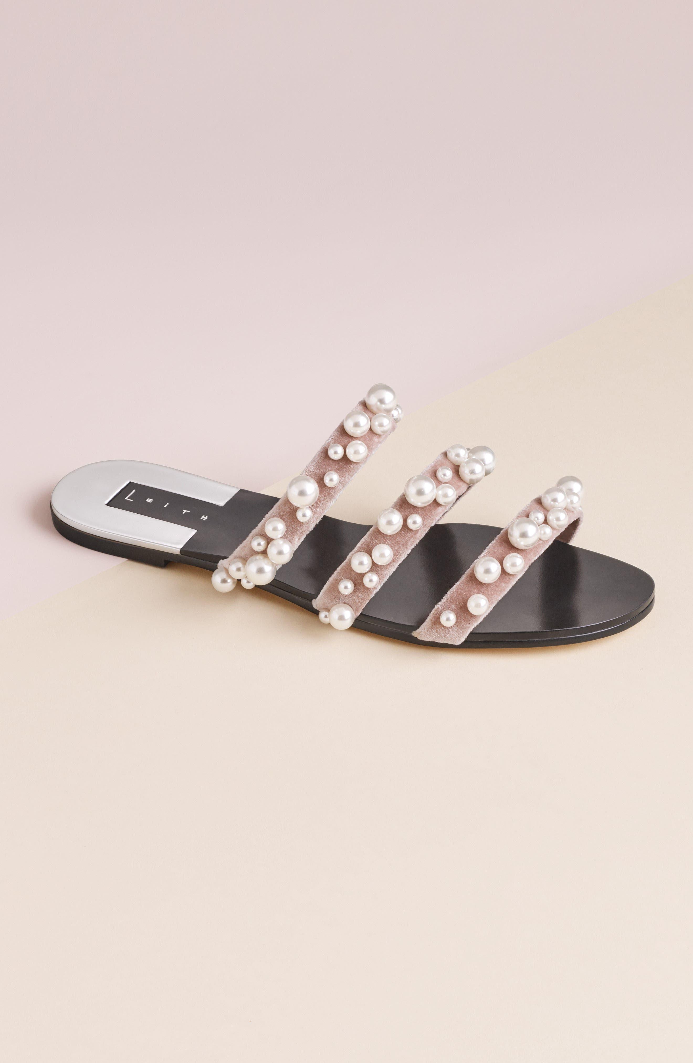 ,                             Stunner Embellished Strappy Slide Sandal,                             Alternate thumbnail 8, color,                             BLUSH VELVET