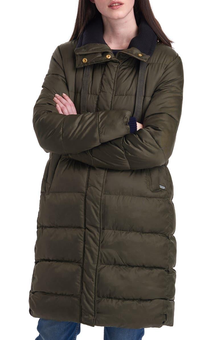 BARBOUR Weatheram Longline Puffer Coat, Main, color, 302