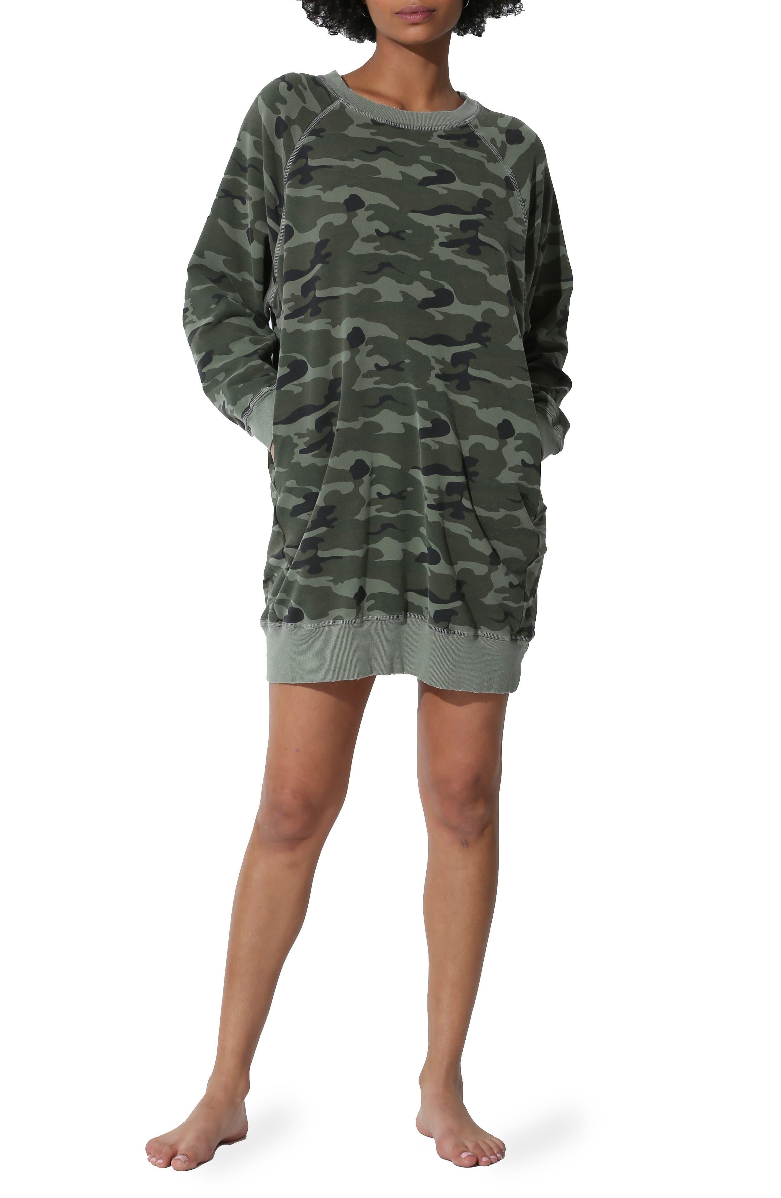 Sunday Camo Sweatshirt Dress