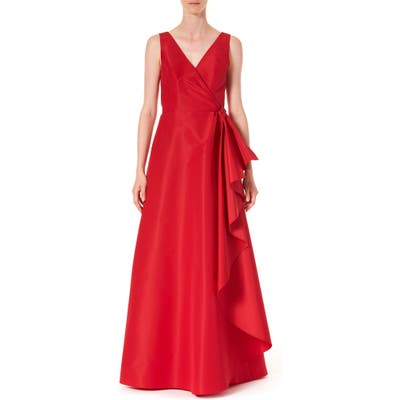 Carolina Herrera Ruffle Panel A-Line Silk Gown, Red