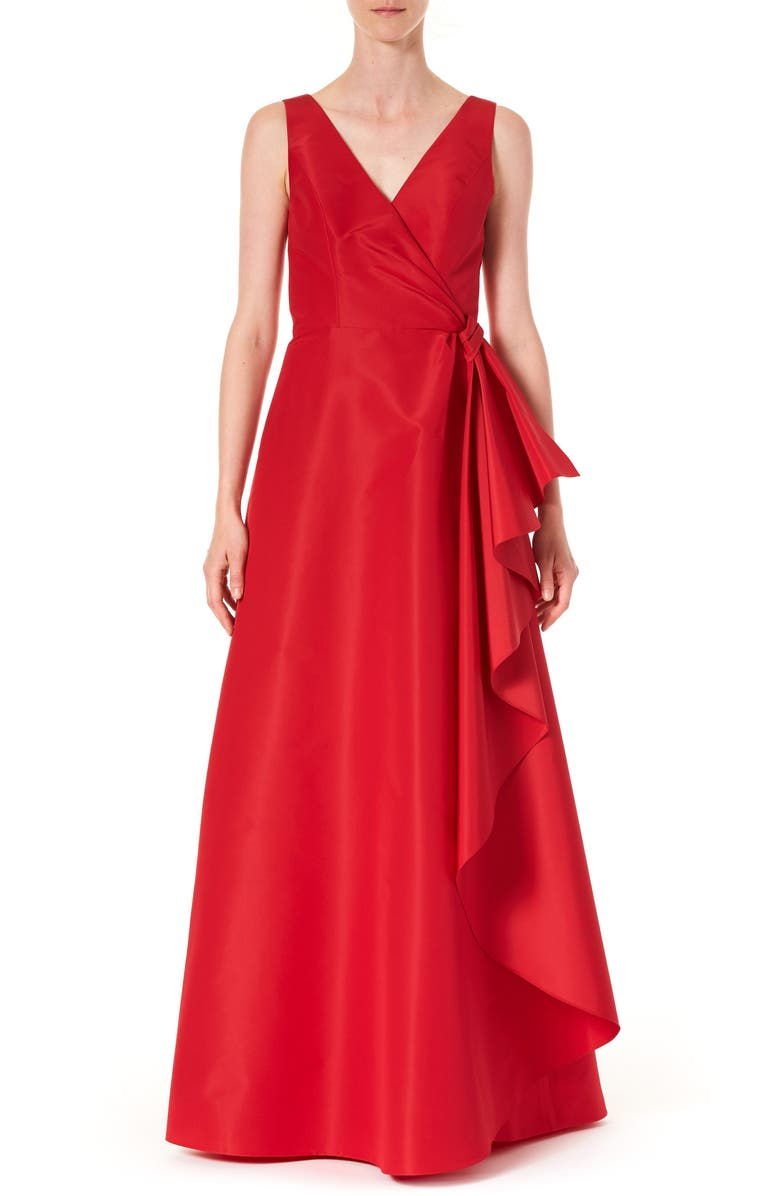 CAROLINA HERRERA Ruffle Panel A-Line Silk Gown, Main, color, ICON RED