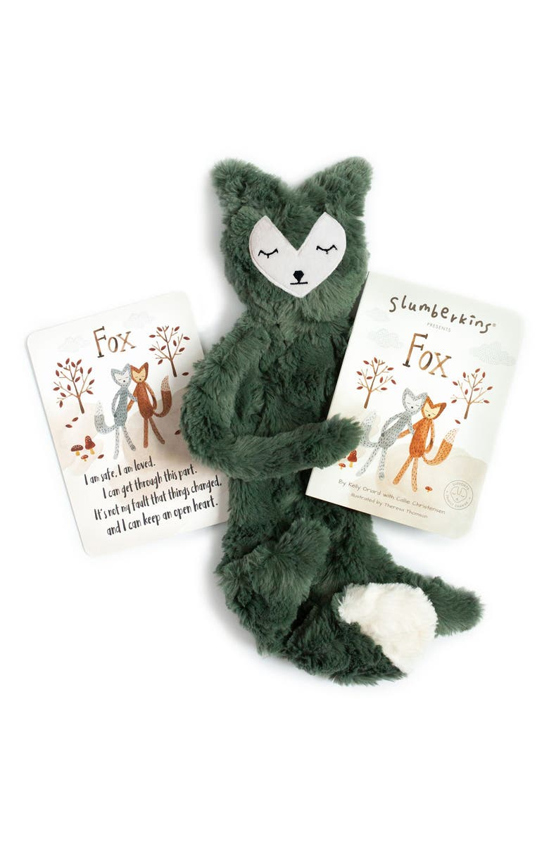 SLUMBERKINS Fox Stuffed Animal & 'Fox' Board Book, Main, color, GREEN