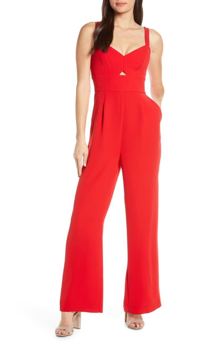 EVER NEW Blake Wide Leg Jumpsuit, Main, color, RED