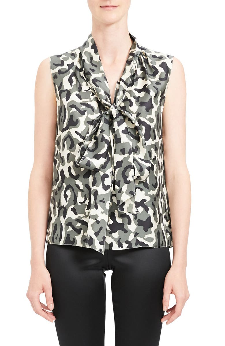 THEORY Camo Print Tie Neck Sleeveless Silk Blouse, Main, color, 001