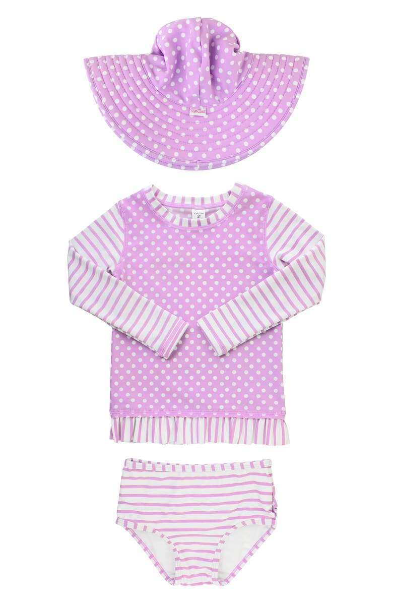 5670efef4e RuffleButts Lilac Two-Piece Rashguard Swimsuit & Hat Set (Baby ...