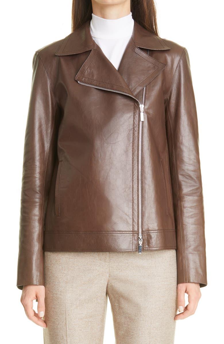 LAFAYETTE 148 NEW YORK Aisling Lambskin Leather Moto Jacket, Main, color, BROWNSTONE