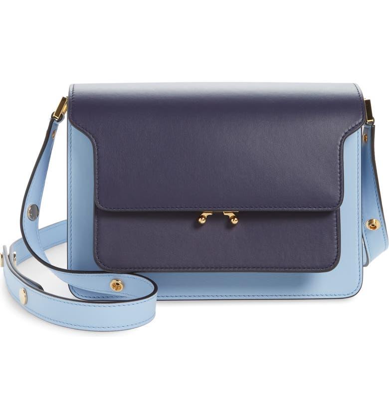 MARNI Medium Trunk Colorblock Leather Shoulder Bag, Main, color, BLUE BLACK/ LIGHT BLUE