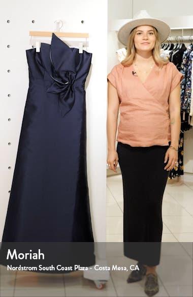 3D Appliqué Strapless Mikado Gown, sales video thumbnail