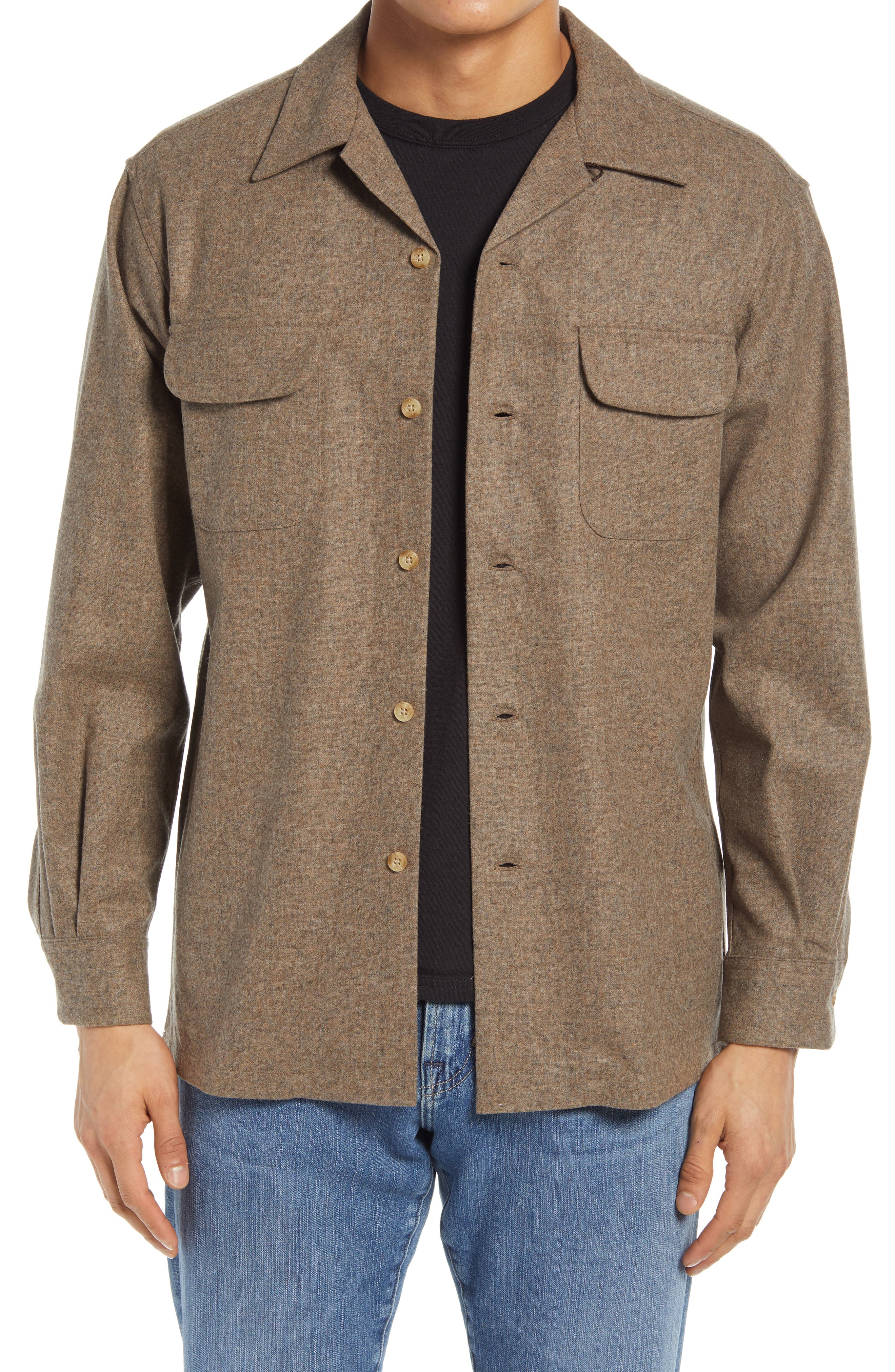 1940s Men's Shirts, Sweaters, Vests Mens Pendleton Board Lined Wool Shirt Size Small - Brown $149.00 AT vintagedancer.com