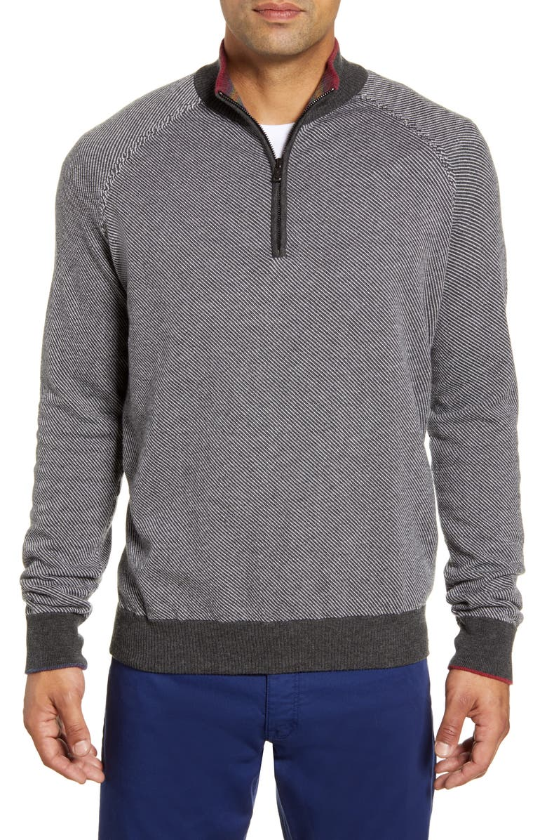 ROBERT GRAHAM Rhett Regular Fit Quarter Zip Pullover, Main, color, GRAPHITE MEDIUM GREY