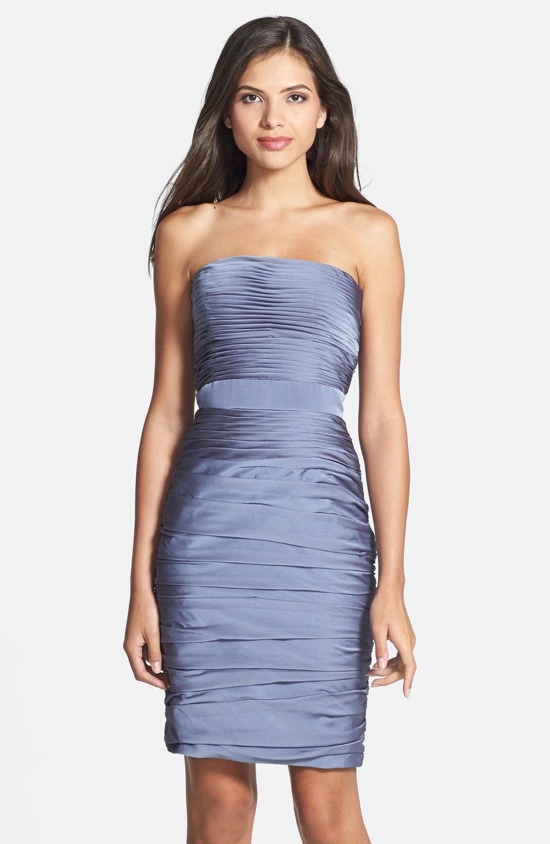 ,                             Ruched Strapless Cationic Chiffon Dress,                             Main thumbnail 11, color,                             022